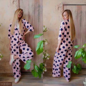 Заказать розовый женский костюм с широкими штанами в крупный горох (размер 42-48) по скидке