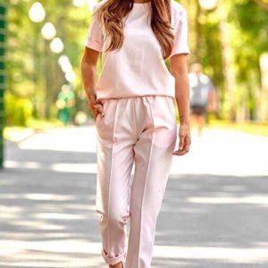 Купить розовый женский однотонный брючный костюм с футболкой по низким ценам