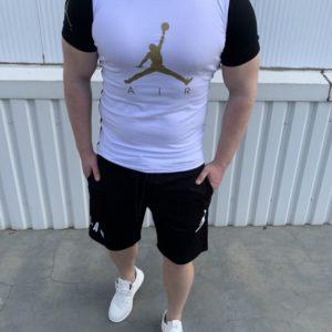 Купить черно-белый мужской двухцветный костюм jordan air с шортами (размер 46-54) по скидке