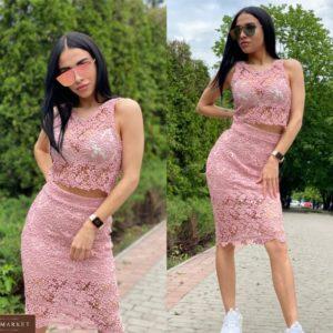 Заказать пудровый женский костюм: юбка + майка из макраме хорошего качества