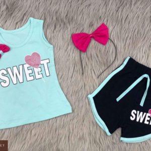Купить голубой детский трикотажный костюм с шортами с надписью Sweet по низким ценам