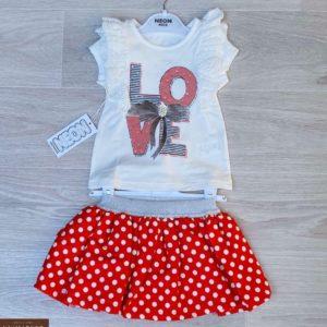 Заказать красный детский комплект: футболка с юбочкой в горошек дешево