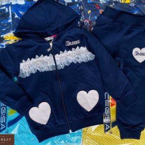 Заказать детский синий костюм с сердечками на змейке хорошего качества