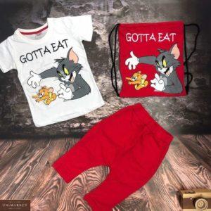 Купить бело-красный детский костюм тройка: шорты, футболка и сумка с принтом Том и Джерри выгодно