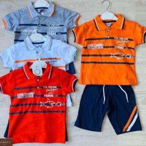 Заказать детский красный, оранжевый, серый, белый трикотажный двухцветный костюм с полосками онлайн