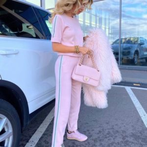 Купить розовый женский однотонный прогулочный костюм с лампасами (размер 42-52) в Украине