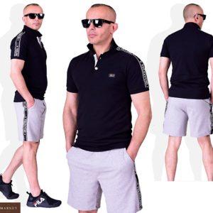 Заказать черный мужской костюм: футболка поло+ серые шорты (размер 48-54) по скидке
