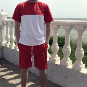 Купить красный мужской двухцветный трикотажный костюм Nike с шортами выгодно