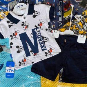 Заказать синий детский трикотажный костюм с шортиками с Микки Маусом по скидке
