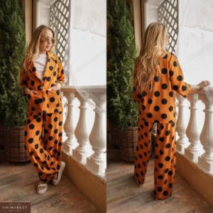 Купить оранжевый женский костюм с широкими штанами в крупный горох (размер 42-48) дешево