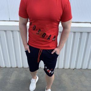 Купить красный мужской трикотажный костюм с шортами с надписью Jordan (размер 46-54) по скидке