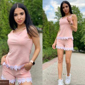 Заказать розовый женский летний костюм из креп дайвинга с макраме в интернете