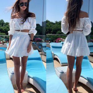 Заказать женский летний белый костюм: короткий топ + юбка из прошвы по низким ценам