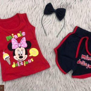 Заказать красный детский костюм: шорты+майка с принтом Микки Маус по низким ценам