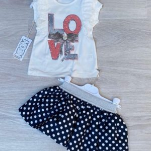 Купить синий детский комплект: футболка с юбочкой в горошек по скидке