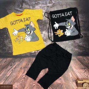 Приобрести желто-черный детский костюм тройка: шорты, футболка и сумка с принтом Том и Джерри недорого