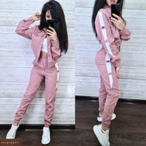 Приобрести лиловый женский вельветовый костюм: куртка+штаны на высокой посадке в интернет-магазине