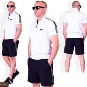 Купить белый мужской костюм: футболка поло+ черные шорты (размер 48-54) в Киеве