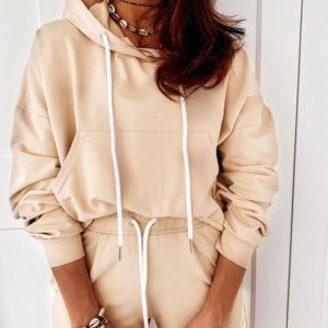 Приобрести бежевый женский костюм с шортами и кофтой-кенгуру (размер 42-56) в Днепре