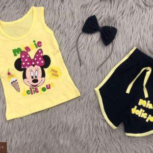 Приобрести желтый детский костюм: шорты+майка с принтом Микки Маус онлайн