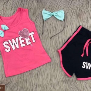 Купить розовый детский трикотажный костюм с шортами с надписью Sweet хорошего качества