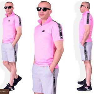 Купить розовый мужской костюм: футболка поло+ серые шорты (размер 48-54) дешево