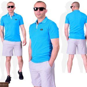 Приобрести голубой мужской летний костюм поло с серыми шортами (размер 48-54) выгодно