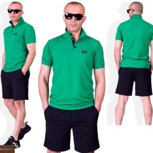 Купить зеленый мужской летний костюм поло с черными шортами (размер 48-54) выгодно
