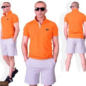 Купить оранжевый мужской летний костюм поло с серыми шортами (размер 48-54) хорошего качества