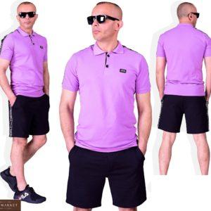 Заказать лиловый мужской костюм: футболка поло+ черные шорты (размер 48-54) дешево