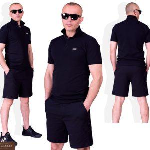Приобрести черный мужской летний костюм поло с черными шортами (размер 48-54) по низким ценам