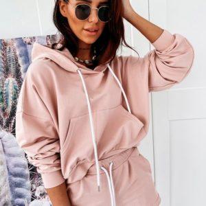 Заказать розовый женский костюм с шортами и кофтой-кенгуру (размер 42-56) в Киеве