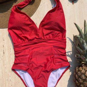 Заказать красный женский слитный купальник с завязкой на шее в Одессе, Львове