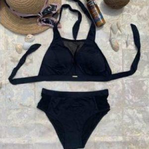 Приобрести синий, черный, красный женский купальник халтер со вставками из сетки дешево