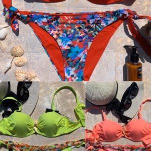 Купить красный, салатовый, коралловый женский раздельный купальник с принтованными плавками по низким ценам