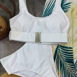 Заказать белый женский раздельный трикотажный купальник с поясом недорого
