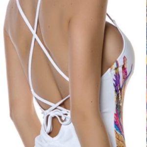 Приобрести белый женский слитный купальник с принтом перья дешево