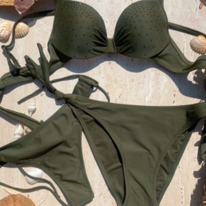 Заказать хаки женский купальник-тройка с камнями по низким ценам