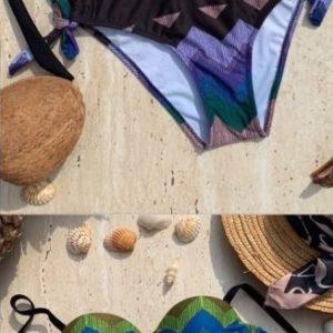 Заказать синий женский цветной купальник с зигзагами по низким ценам