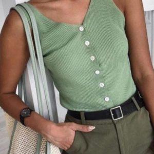 Придбати фісташковий жіночу трикотажну майку в рубчик на ґудзиках дешево