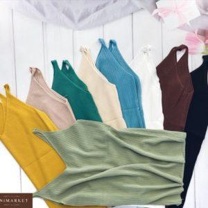 Купить в интернет-магазине женскую летнюю базовую майку в рубчик зеленую, синюю, горчичную
