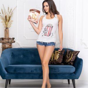 Заказать с попкорном женскую хлопковую пижаму с шортиками в Украине