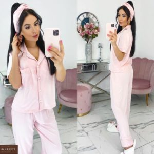Заказать розовую женскую трикотажную пижаму с повязкой в комплекте (размер 42-48) выгодно