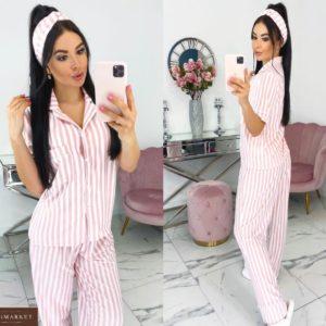 Приобрести розовую женскую полосатую пижаму из вискозы с повязкой (размер 42-48) в Одессе, Киеве, Днепре
