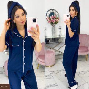 Приобрести синюю женскую трикотажную пижаму с повязкой в комплекте (размер 42-48) онлайн