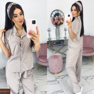 Приобрести бежевую женскую пижаму в горошек с повязкой в комплекте (размер 42-48) выгондо