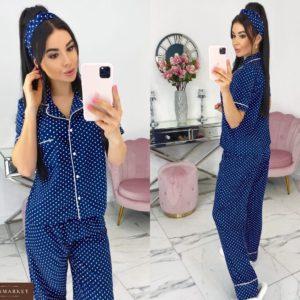 Купить синюю женскую пижаму в горошек с повязкой в комплекте (размер 42-48) в Украине