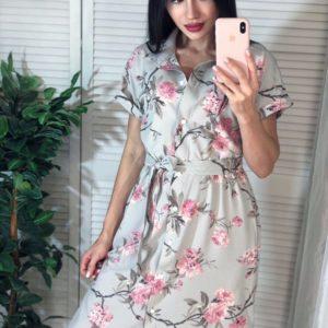 Приобрести серо-розовое женское платье-рубашку с нежным цветочным принтом по интернету