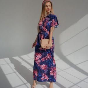 Купить синее женское длинное платье с цветочным принтом дешево