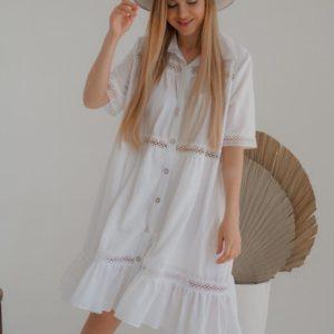 Приобрести женское белое платье из хлопка с кружевом (размер 42-54) дешево